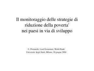 Il monitoraggio delle strategie di riduzione della poverta'  nei paesi in via di sviluppo