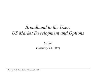 Broadband to the User: US Market Development and Options