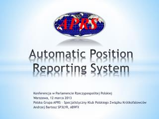 Automatic  Position  Reporting System