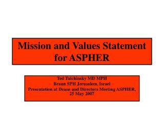 Mission and Values Statement for  ASPHER