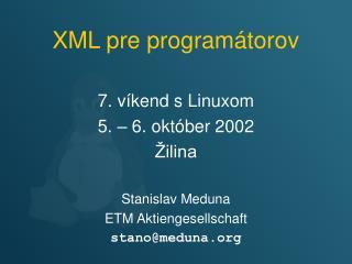 XML pre programátorov