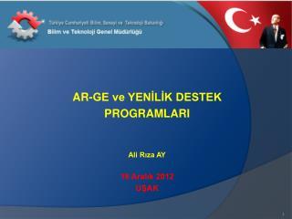AR-GE ve YENİLİK DESTEK  PROGRAMLARI Ali Rıza AY 18 Aralık 2012 UŞAK