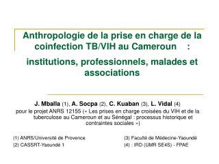 J. Mballa  (1),  A. Socpa  (2),  C. Kuaban  (3),  L. Vidal  (4)