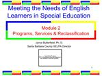 Meeting the Needs of English Learners in Special Education