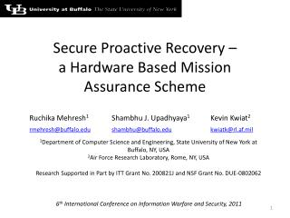 Secure Proactive  Recovery  –  a  Hardware Based Mission Assurance Scheme