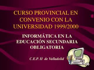 CURSO PROVINCIAL EN CONVENIO CON LA UNIVERSIDAD 1999/2000