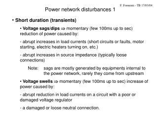 Power network disturbances 1
