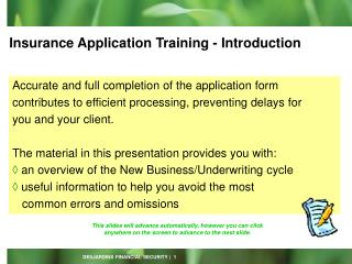 Insurance Application Training - Introduction