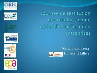 Journée de restitution des résultats d'une recherche sur les mini-entreprises