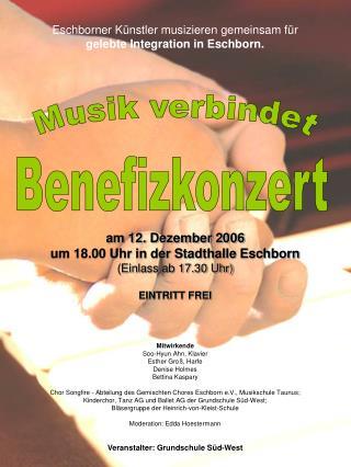 Eschborner Künstler musizieren gemeinsam für gelebte Integration in Eschborn. am 12. Dezember 2006