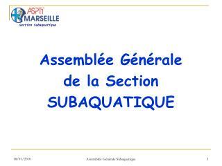 Assemblée Générale  de la Section SUBAQUATIQUE