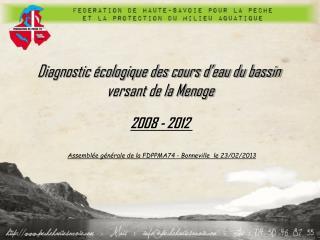 Diagnostic écologique des cours d'eau du bassin  versant de la Menoge