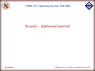Security – Additional material