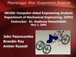 Moonbuggy Rear Suspension Analysis  ME450: Computer-Aided Engineering Analysis Department of Mechanical Engineering, IUP