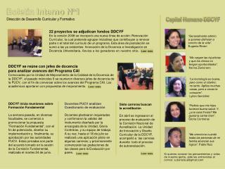 Boletín Interno N°1 Dirección de Desarrollo Curricular y Formativo