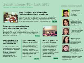 Boletín Interno N°2 – Sept. 2008 Dirección de Desarrollo Curricular y Formativo