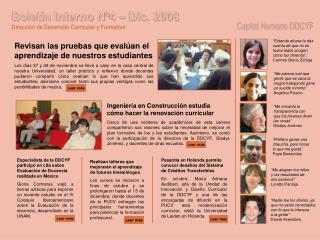 Boletín Interno N°4 – Dic. 2008 Dirección de Desarrollo Curricular y Formativo
