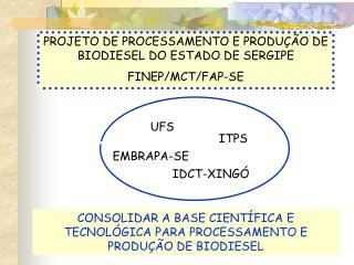 PROJETO DE PROCESSAMENTO E PRODUÇÃO DE BIODIESEL DO ESTADO DE SERGIPE FINEP/MCT/FAP-SE