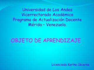 Universidad de Los Andes Vicerrectorado Académico Programa de Actualización Docente