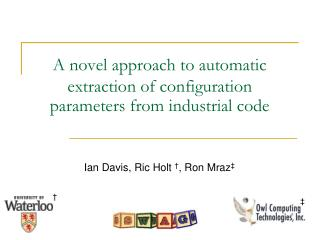 A novel approach to automatic extraction of configuration parameters from industrial code