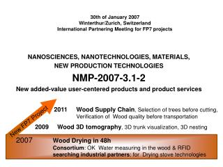 NANOSCIENCES, NANOTECHNOLOGIES, MATERIALS,  NEW PRODUCTION TECHNOLOGIES NMP-2007-3.1-2