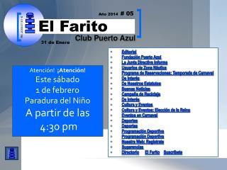 Editorial Fundaci�n Puerto Azul  La Junta Directiva Informa Usuarios de Zona N�utica