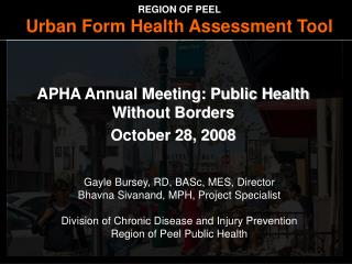 APHA Annual Meeting: Public Health Without Borders October 28, 2008