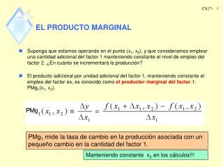 EL PRODUCTO MARGINAL