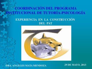 COORDINACIÓN DEL PROGRAMA INSTITUCIONAL DE TUTORÍA-PSICOLOGÍA