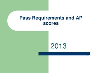 Pass Requirements and AP scores