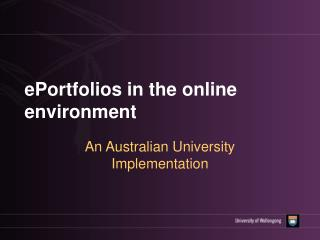 ePortfolios in the online environment