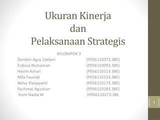 Ukuran Kinerja dan Pelaksanaan Strategis