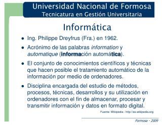 Informática Ing. Philippe Dreyfrus (Fra.) en 1962.