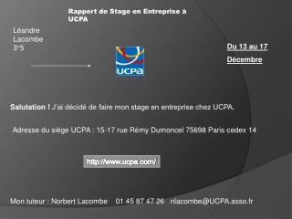Rapport de Stage en Entreprise à UCPA