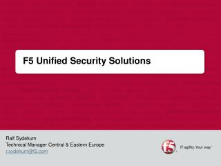 F5 Unified Security Solutions