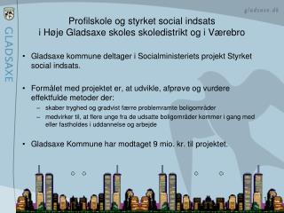 Profilskole og styrket social indsats i Høje Gladsaxe skoles skoledistrikt og i Værebro