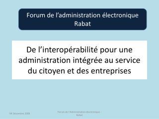 De l'interopérabilité pour une administration intégrée au service du citoyen et des entreprises
