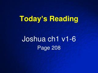 Today�s Reading