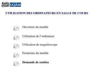 UTILISATION DES ORDINATEURS EN SALLE DE COURS