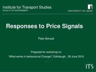 Responses to Price Signals