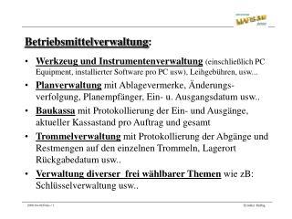 Betriebsmittelverwaltung :