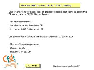 Elections 2009 les sites D.P. de l' AVSC (maille)