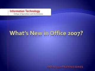 What's New in Office 2007?