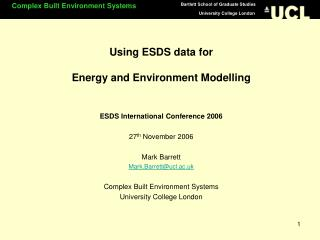 Using ESDS data for  Energy and Environment Modelling