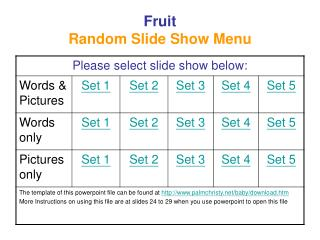Fruit Random Slide Show Menu