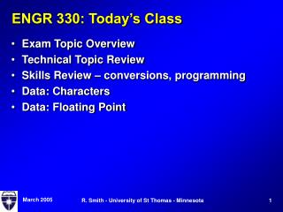 ENGR 330: Today s Class