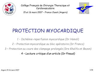 PROTECTION MYOCARDIQUE 1 – Ischémie-reperfusion myocardique (Dr Hamdi)
