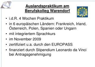 Auslandspraktikum am  Berufskolleg Warendorf