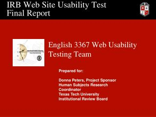 IRB Web Site Usability Test Final Report