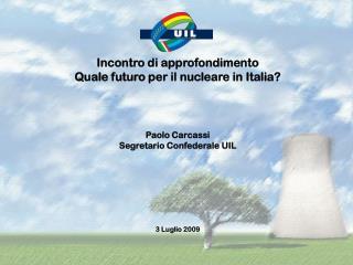 Incontro di approfondimento Quale futuro per il nucleare in Italia? Paolo Carcassi